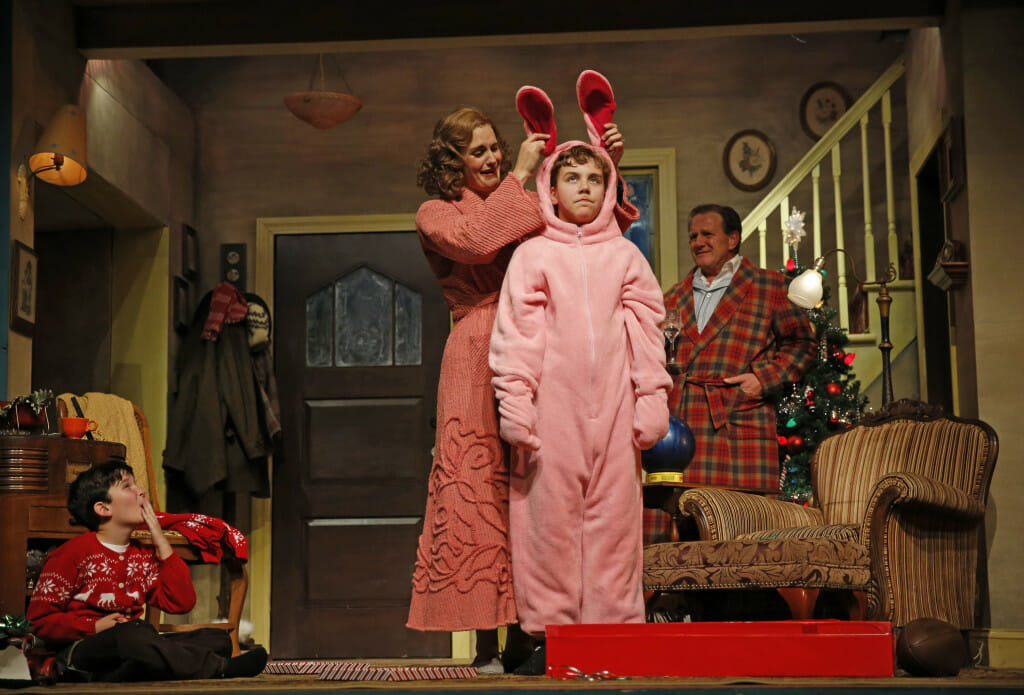 Theo Moss, Danni Smith, Michael Harp and Michael Accardo plays the Old Man in A Christmas Story – The Musical.