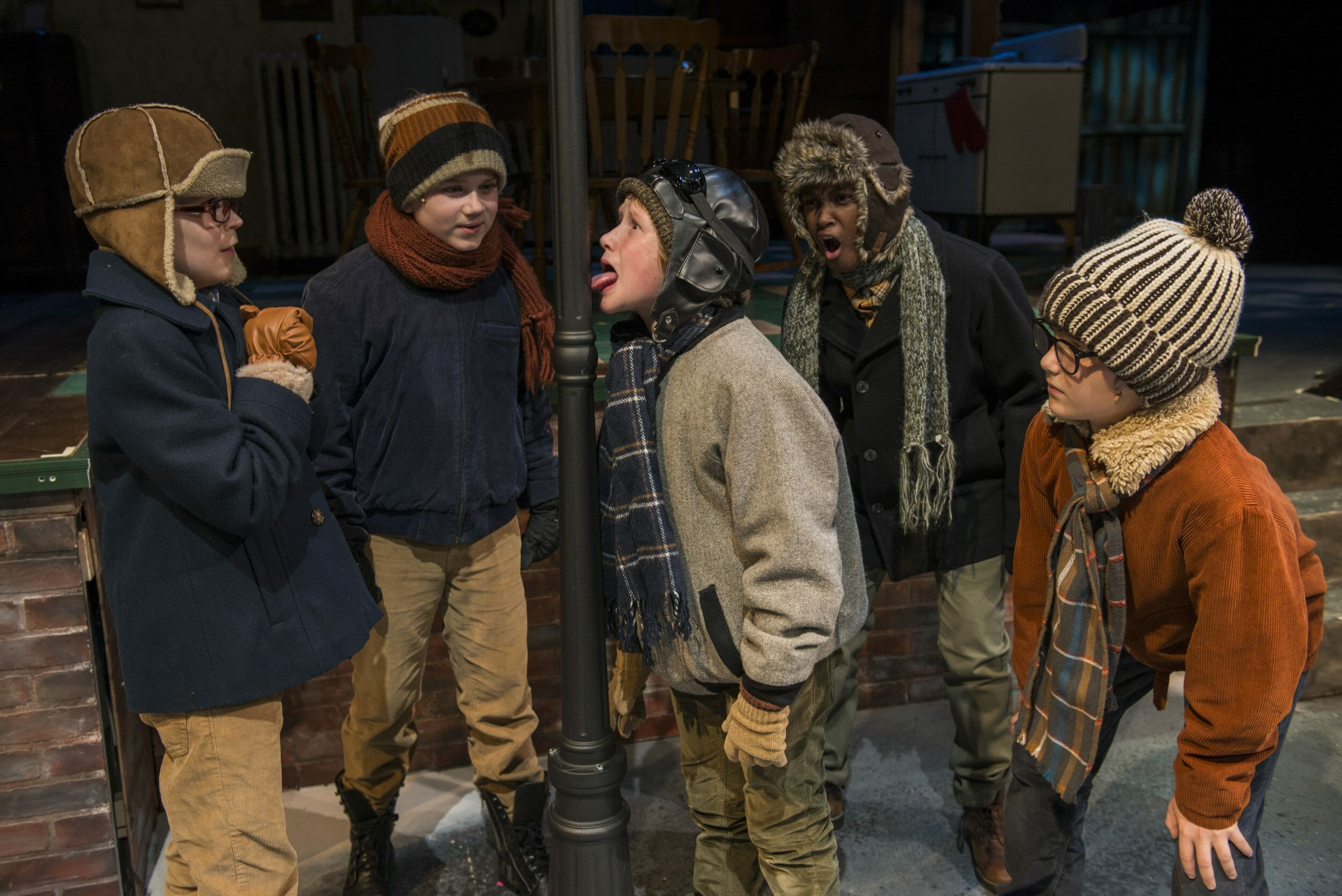 (left to right) Jack Edwards (ensemble) Rowan Moxley (Schwartz), Charlie Iverson (Flick tongue stuck to flagpole) Cameron Goode (understudy) and Nate Becker (Ralphie)