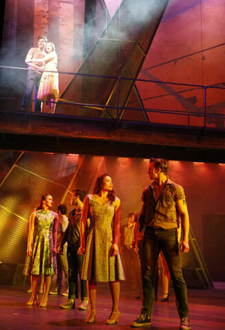 Paramount Theatre, 23 E. Galena Blvd. in downtown Aurora, is presenting a grand, sweeping production of West Side Story, one of the greatest musicals ever, March 16-April 24, 2016. Pictured, upper left: Zoe Nadal plays Maria and Will Skrip plays Tony. Foreground, front couple: Brittany Amoroso plays Teresita and Aaron Patrick Craven is Diesel. For tickets and information, go to ParamountAurora.com or call (630) 896-6666. Photo credit: Liz Lauren.